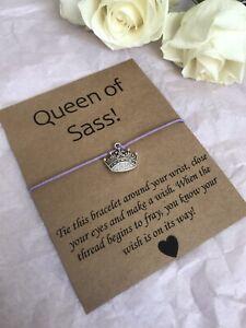 💜 Queen Of Sass Crown friendship Wish bracelet/anklet Her Love Gift Present💜