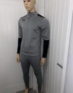 Under Armour Tracksuit 1/4 Zip grey/black Long Sleeve Fitted Bnwt Medium 69.99