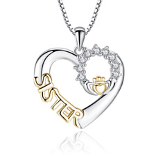 Women Heart-shaped Pendant Necklace Sister Gift Chain Inlaid Zircon Crown Style