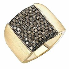 14KT Yellow Gold Pave Cognac Diamond Cigar Band Design Wide Ring Satin Matte NEW