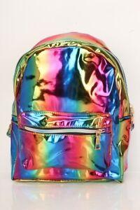 Unisex Holographic Rainbow Metallic Mini Backpack - Vegan