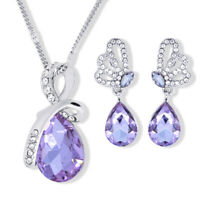Women Jewelry Set 925 Silver Filled Crystal Earring Necklace Pendant Wedding New