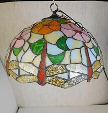 STAINED SLAG GLASS FLORAL DRAGONFLY CEILING LIGHT FIXTURE W/O HARDWARE