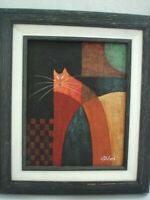 """Framed Art Hand Painted Abstract Cat 13 x 15 x 2"""" Finished Size Textured G-VGC"""