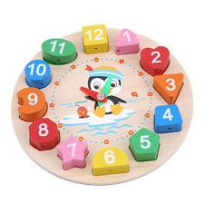 Learning Clock Puzzles Rainbow Jigsaw Beaded Building Blocks Digital Kids Toy N7