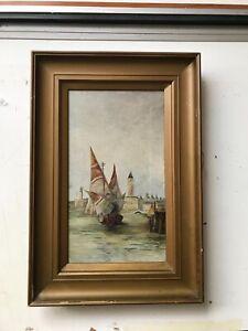 Vintage Oil painting, Venetian Scene, 1930's