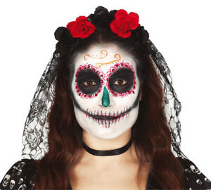 Day of the Dead BLACK VEIL Red Flowers Halloween Ladies Mexican Fancy Dress NEW
