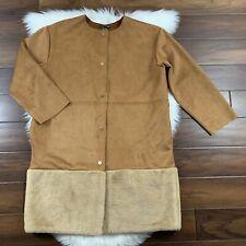 Zara Women's Size XL Camel Tan Contrasting Faux Suede & Fur Trim Long Coat