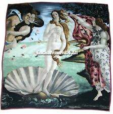 "Large 100% Pure Silk Art Scarf Wrap w/ Sandro Botticelli's ""Birth Of Venus 1480"""