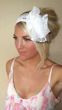 White Wide Bow Stretch Lace Thick Hair Head Band Choochie Choo Festival Summer