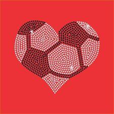 Soccer Heart Rhinestone Transfer - Iron on - 2 color