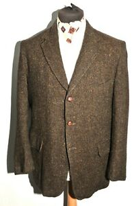 Vintage Tailored Harris Tweed fleck Barleycorn brown Jacket size 38'' R 1970's