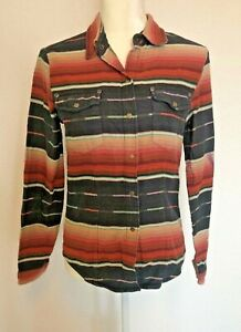 Tasha Polizzi Striped Pearl Snap Long Sleeve Shirt Western Women's Size Medium