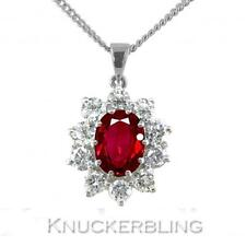 1.50ct Ruby and F VS Diamond Cluster Pendant in 18ct White Gold, with Chain