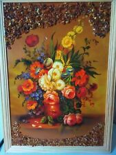 Amber Genuine Picture Summer Flowers Wooden Pine Natural Frame Souvenir VG2029