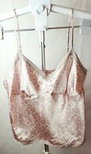 Women's La Senza Pink Taupe Lace Camisole Tank Top Silky Adjustable Straps