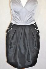 LIPSY Size 10 Platinum Black Strapless Boned Bandeau Jewelled Dress *CLEAN VGC