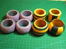 TWO SETS OF NAPKIN RINGS YELLOW BLUE WOODEN AND PURPLE PLASTIC BEADED X8