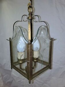Vintage Brass Hanging Porch Hall Lantern Ceiling Pendant Light Lamp. glass cut