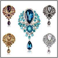 Vintage Rhinestone Crystal Flower Drop Brooch Pin Women  Wedding Married Jewelry