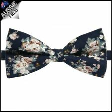 Men's Midnight with Dusky Pink & White Floral Pattern Mens Bow Tie