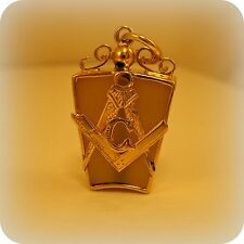 Edwardian Masonic Square & Compass Grey Agate Gold Pendant, hallmarked 1908