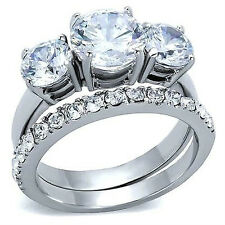 2 Wedding Rings Set Size 9 Platinum/Steel Alloy 3+3/4 Carat Simulated Moissanite