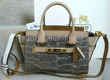 COACH 24113 SWAGGER 27 SNAKESKIN LEATHER SATCHEL CARRYALL BAG Crossbody Platinum