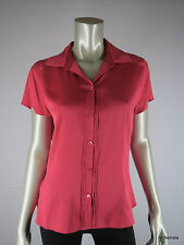 ANN TAYLOR Silk Rose Pink Pleated Short Sleeve Collared Blouse Top L Large EUC