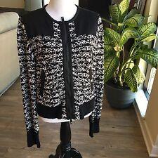 RAG & BONE Women's VIOLA Sweater Jacket Black & White Size Large NWT