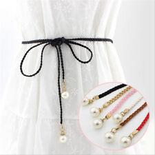 Waistband Fashion Women Ladies Pearl Long Belt Thin Waist Tie Rope Belt Gift