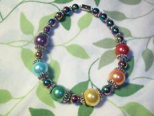 "Magnetic Clasp RAINBOW Glass PEARL Bead ""GAY PRIDE"" Lesbian FASHION Bracelet R03"