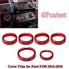 For 2016-18 Ford F150 6Pcs Air Conditioner & Audio Switch Knob Ring Cover Trim