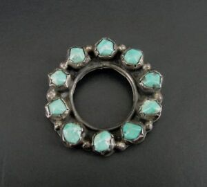Vintage Turquoise Stones Sterling Silver Round open Brooch Pin