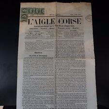 NAPOLÉON N°19 SUR JOURNAL ENTIER L'AIGLE CORSE 5 MAI 1869 -> GENES ITALIE