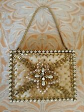 Vintage Riviera Creations Cigaret Cosmetic Compact Lipstick Case Gold Beaded Bag