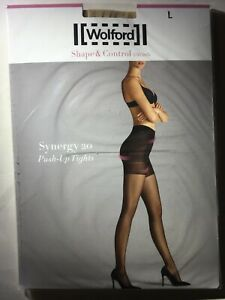 """Wolford Large Cosmetic """"SYNERGY 20"""" Strong Shape Control Top Tights Pantyhose"""