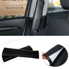 2pcs Car Interior Carbon Fiber Seat Belts Cover Black Shoulder Pads Luxury