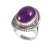 Amethyst Solid 925 Sterling Silver Ring , Handmade Gemstone Ring Size 7 - R16