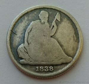 1838-O 90% Silver Seated Dime Good+ Condition