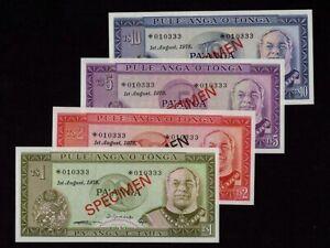 Tonga:P-CS1,1-2-5-10 Pa'anga 1978 * Specimen * King Taufa'ahau * UNC *