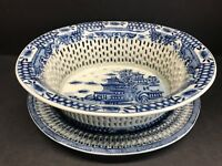 VTG 19th Century Chinese Export Blue White Porcelain Chestnut Basket & Flat Set