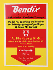 BENDIX Vintage-stil Benzinpumpe Sticker Aufkleber, früh PORSCHE 911, 356, 912