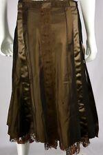 JENNIFER TATTANELLI CASINI Women's Skirt No Size Tag Brown Lace Underlay Raw Hem