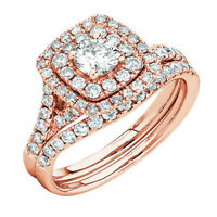 2.15 cts Round Diamond Engagement Ring Wedding Band Solid 14k Rose Gold