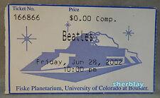 2002 Beatles Concert Ticket Stub Fiske Planetarium