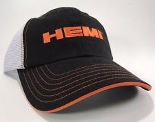 Black & White Hat / Cap w/ Orange Dodge Hemi Logo / Emblem (Licensed)