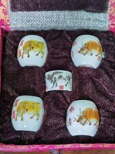 1set 5pcs Asian Bamboo Bird Cage cattle food ceramics cups 五牛.鸟食�70142