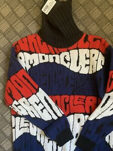 $865 Moncler Grenoble AUTH NEW Retro Logo Wool Cashmere Knit M Tunic Jumper