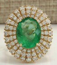 6.94 Carat Natural Emerald 14K Yellow Gold Diamond Ring